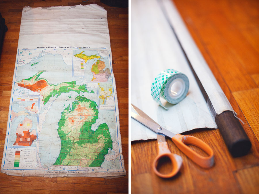 Upcycled Vintage Wall Map At Home - Us vintage map with dowel
