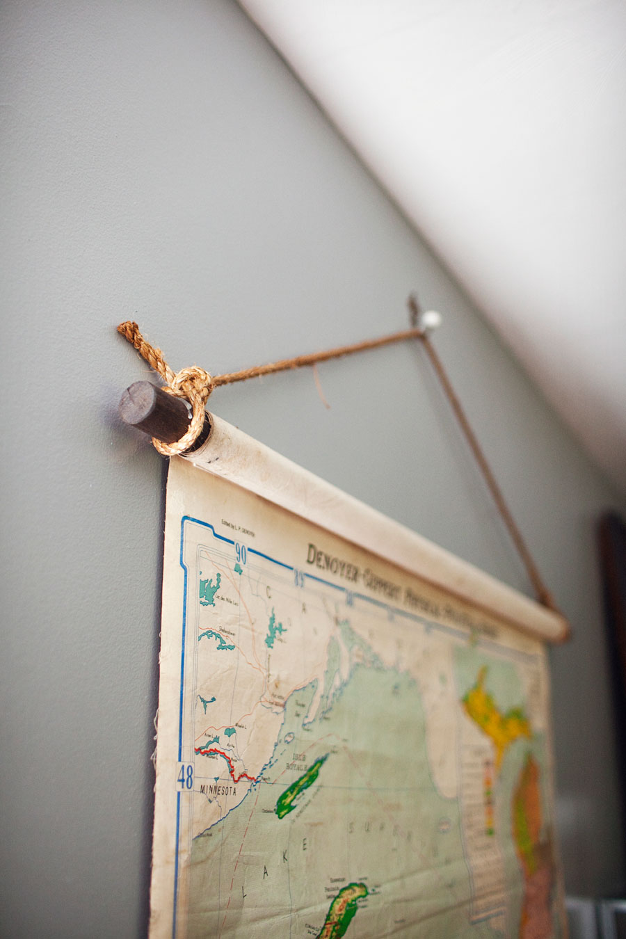 Upcycled Vintage Wall Map At Home