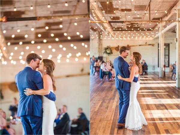 Journeyman Distillery Wedding by Tifani Lyn Photography // first dance // Industrial warehouse wedding venue located in Three Oaks, Michigan ( West Michigan ). The venue features hardwood floors, brick, rustic metal and string lights galore.